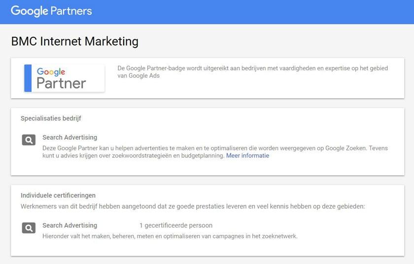Google Partners Bedrijfsinformatie BMC